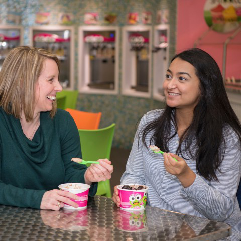 GenFirst mentor and student eating frozen yogurt